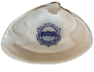 City of Newport RI settled 1639 in Blue and White on sea shell sourced on Newports beaches