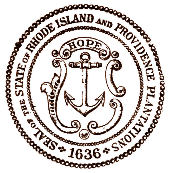 Seal of the State of Rhode Island and Providence Plantations 1636 Bronze and White Outline Braid on Braid