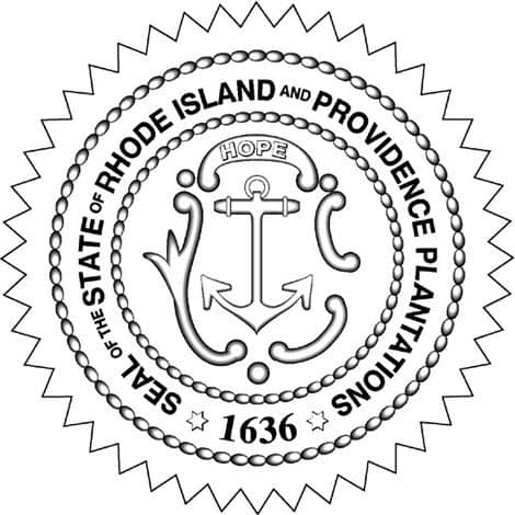 Seal of the State of Rhode Island and Providence Plantations 1636 Black and White Outline Braid in Star