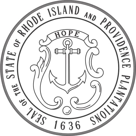 Seal of the State of Rhode Island and Providence Plantations 1636 Black and white outline ROUND on ROUND