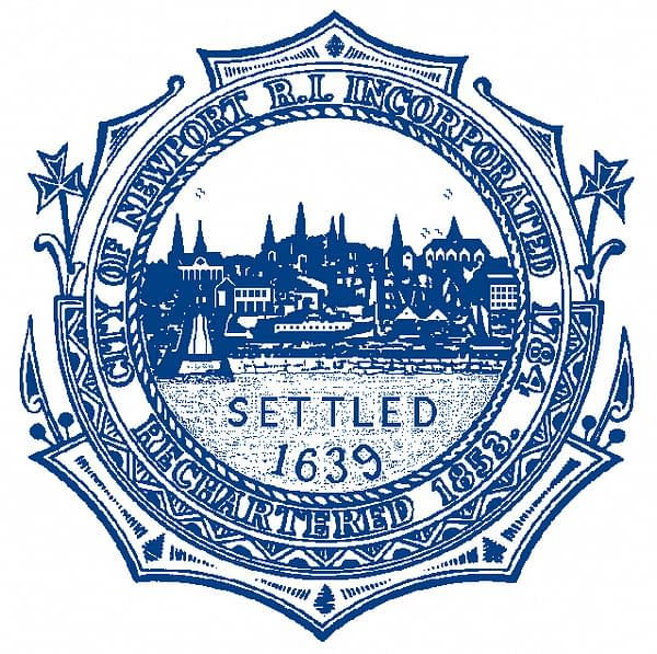 City of Newport RI settled 1639 in Blue and White